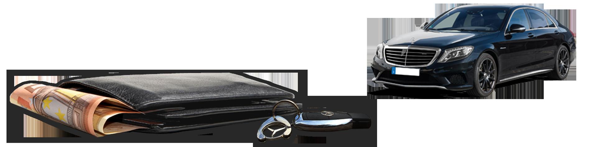 Service Gebrauchtwagen An - und Verkauf - Bild Geldbeutel, Schlüssel und Auto