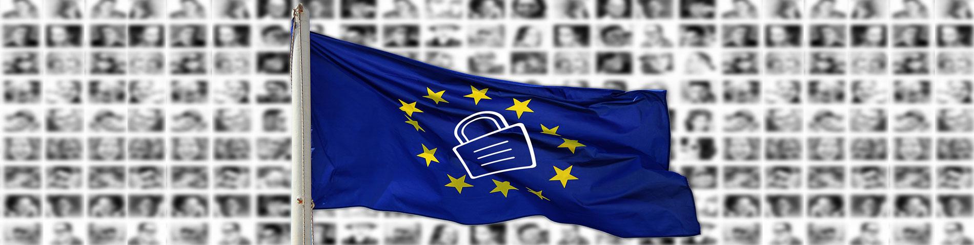 Datenschutz DSGVO - Bild Europäische Fahne mit Schloss