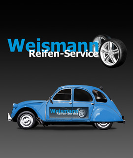 Bild Logo Weismann Reifenservice mit Ente Citroen 2cv